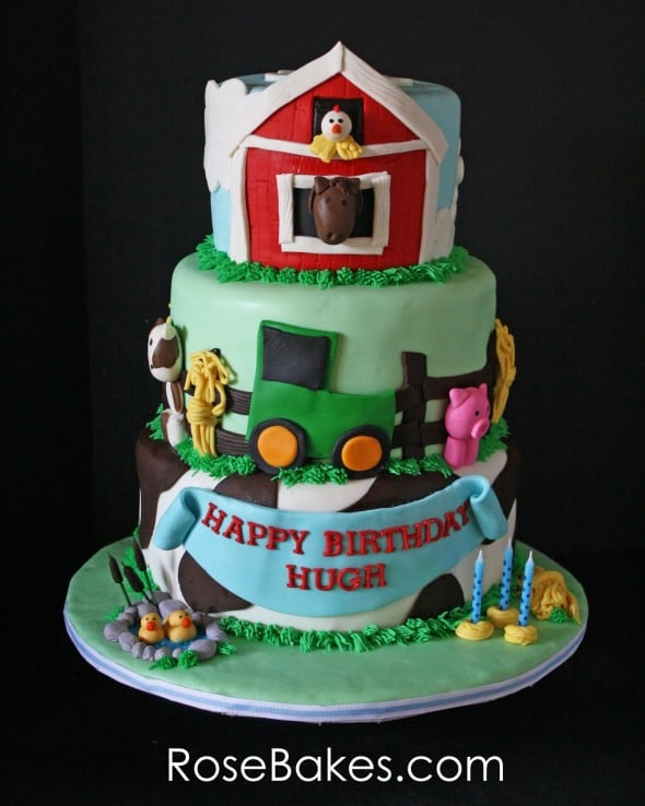 Farm Animals and GreenTractor Cake