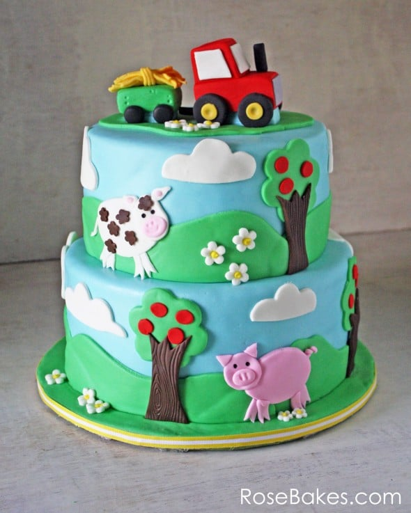 Farm Themed Cake With A Tractor Cake Topper Rose Bakes
