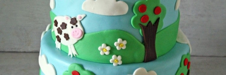 Farm Themed Cake With A Tractor Topper