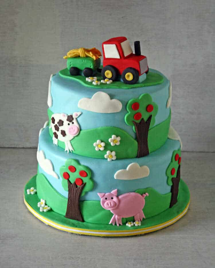 farm themed cake with a tractor cake topper bakes