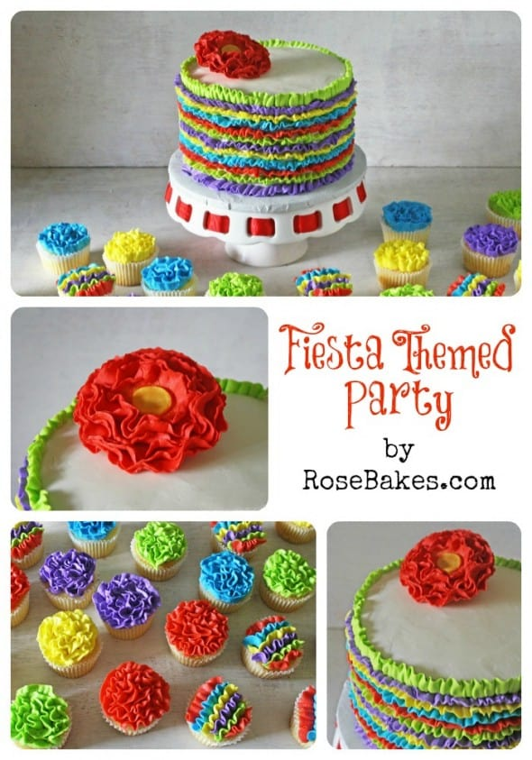 Fiesta Party Ruffles Cake and Ruffles Cupcakes