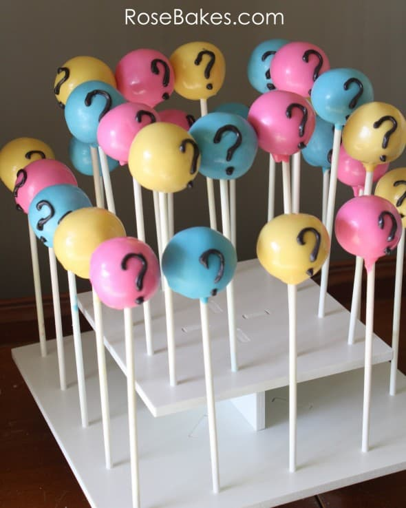 Gender Reveal Cake Pops in Stand