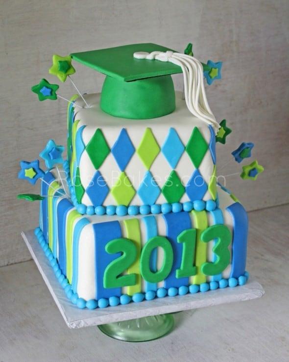 Graduation Cake with Stars & Patterns