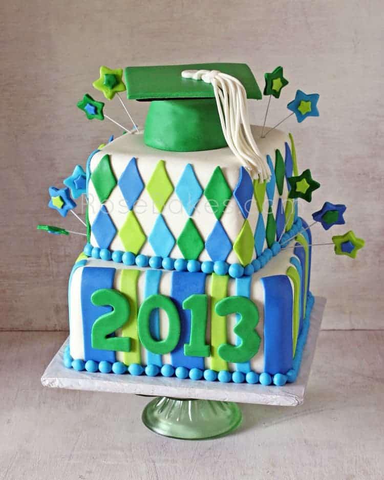 Graduation Cake With Patterns Amp Stars Rose Bakes