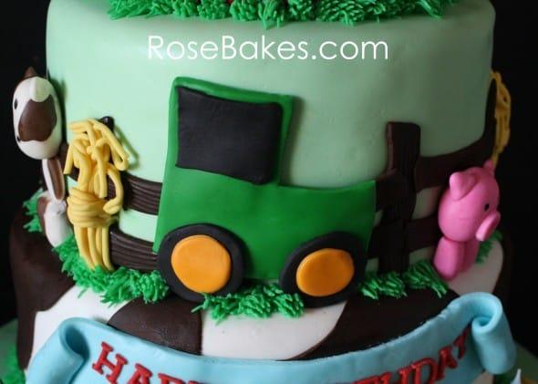 Green Tractor on Farm Animals Cake