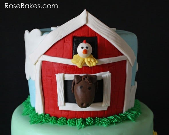 Horse in a Barn on a Farm Animals Cake