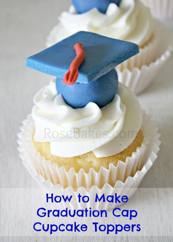 How to Make Graduation Cap Cupcake Toppers Tutorial | Rose ...
