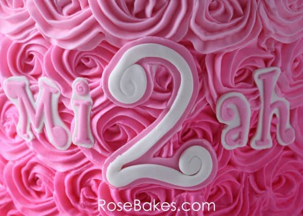 Miah Name on Pink Ombre Roses Minnie Cake