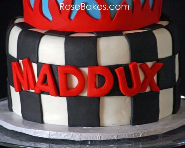 Nascar Cake with Checkerboard Tier