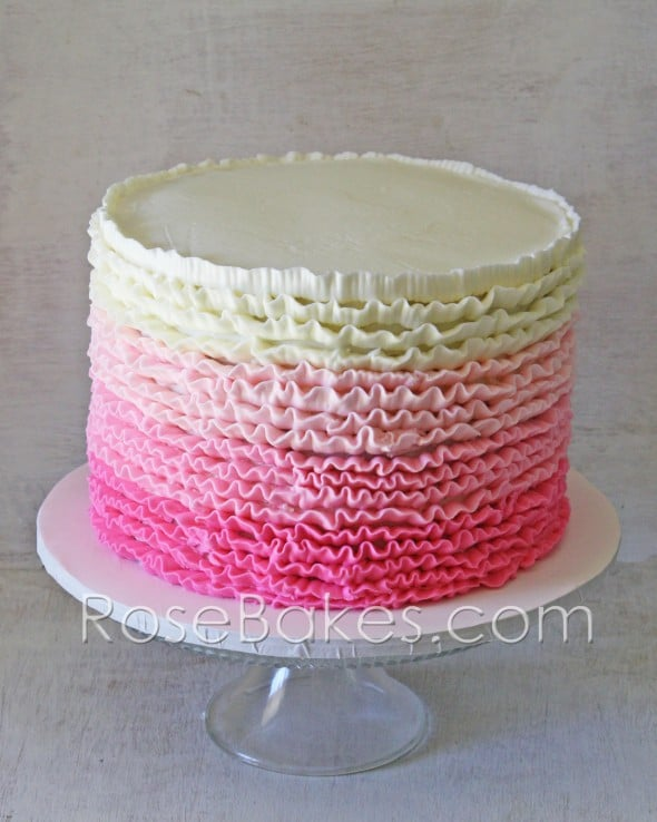 Pink Ombre Ruffles Roses 1st Birthday Cakes And Cookies Rose Bakes