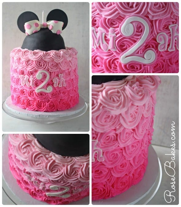 Pink Ombre Roses Disney Minnie Mouse Cake Collage