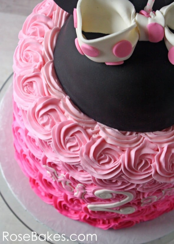 Pink Ombre Roses Minnie Cake Above