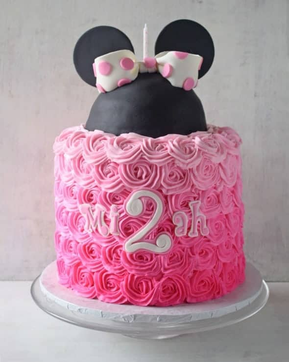 Pink Ombre Roses Minnie Mouse Cake