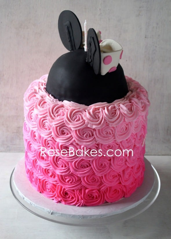 Pink Ombre Roses Minnie Mouse Cake Back