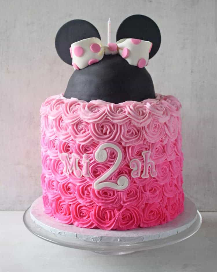 Pink Ombre Minnie Mouse Cake - Rose Bakes