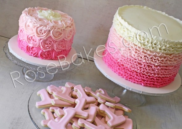 Pink Ombre Ruffles Cake and Roses Cake and One Cookies