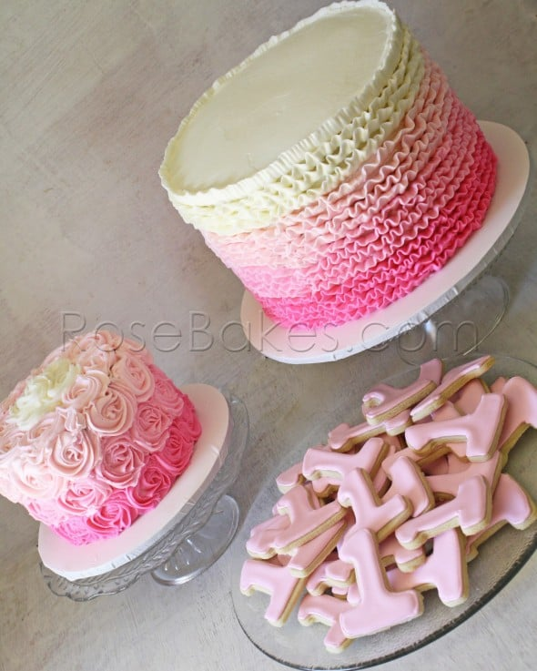 Pink Ombre Ruffles & Roses 1st Birthday Cakes (and Cookies