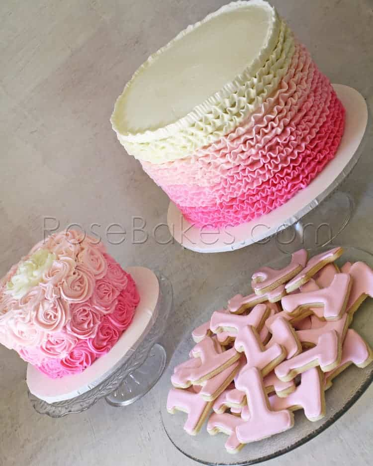 Pink Ombre Ruffles Amp Roses 1st Birthday Cakes And Cookies