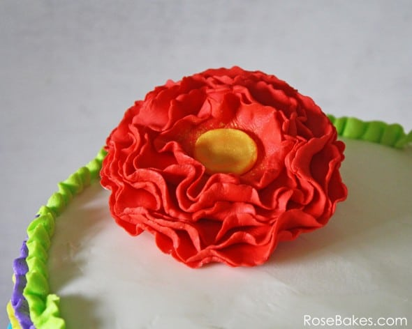 Red Frilly Flower on Fiesta Ruffles Cake