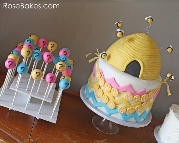What Will They Bee Gender Reveal Cake and Cake Pops