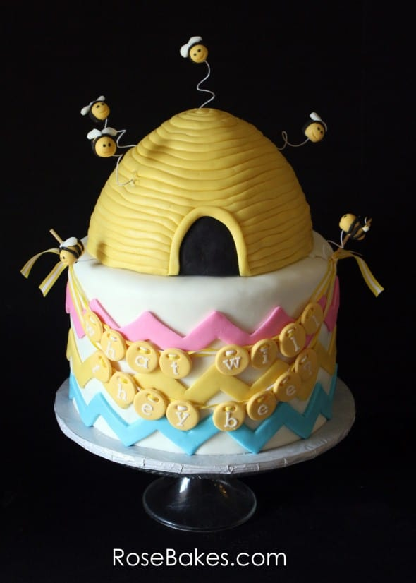 What Will They Bee Twins Gender Reveal Cake Wm