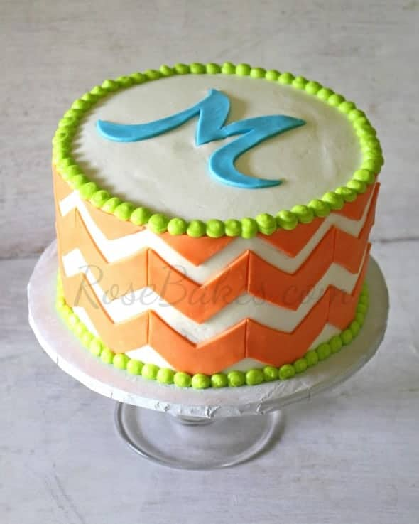 Chevron Cake with Initial