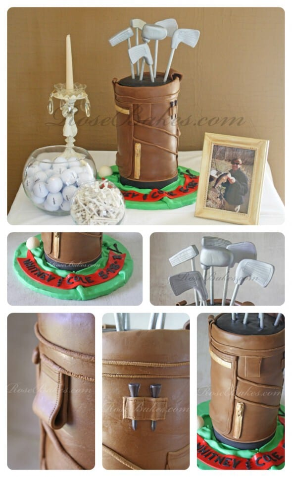 Golf Bag Cake Collage