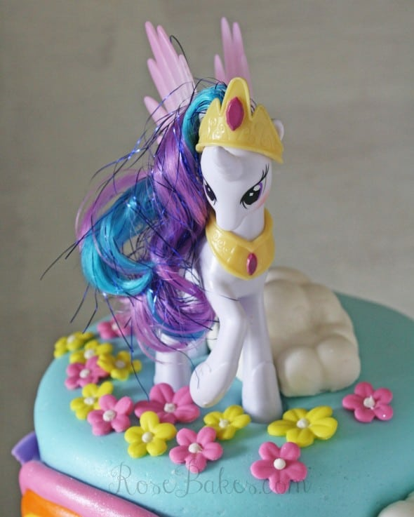 My Little Pony Rainbow Cake With Princess Celestia Rose Bakes