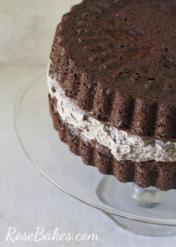 Chocolate Sandwich Cookie Cake (aka Oreo Cookie Cake) - Rose Bakes