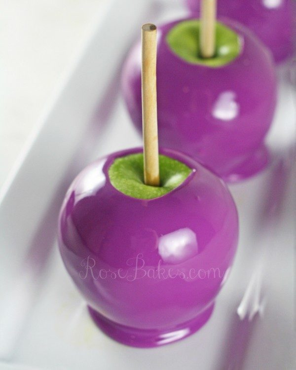 purple apples on a white platter how to make candy apples any color