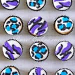 Teal and Purple Zebra Print and Leopard Print Cupcakes Vertical