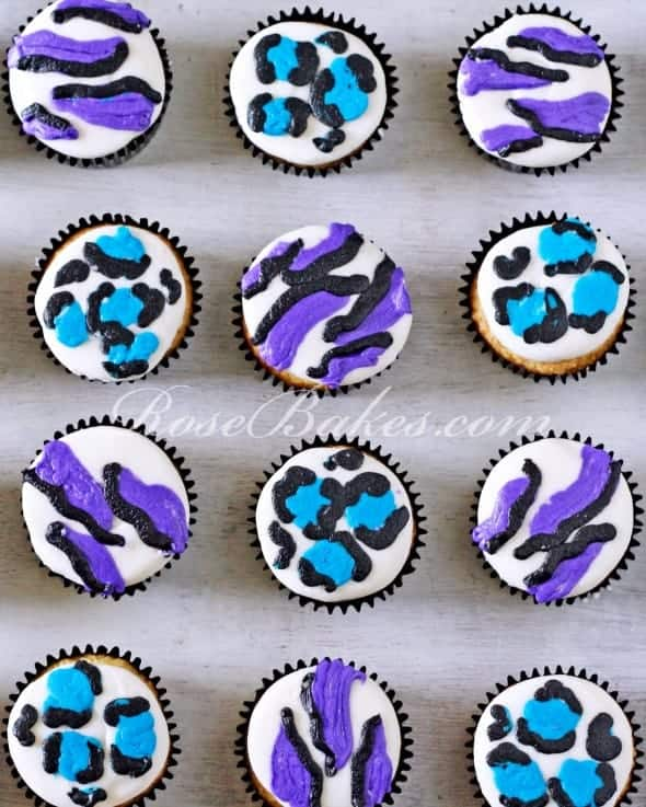 Purple and Teal Zebra & Cheeta Print Cupcakes