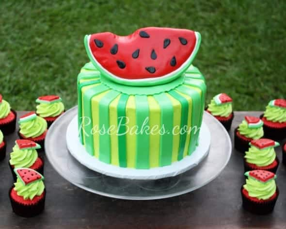 Watermelon Cake and Cupcakes Outside