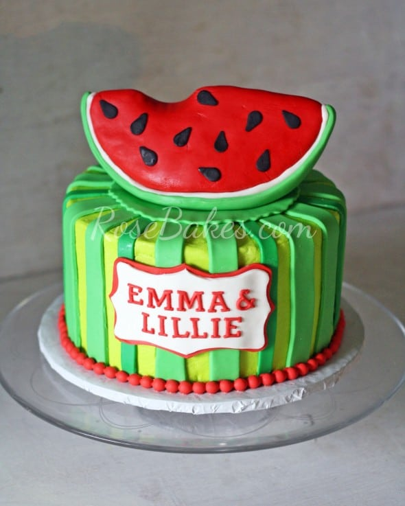 Watermelon Cake with Slice of Watermelon Cake Topper