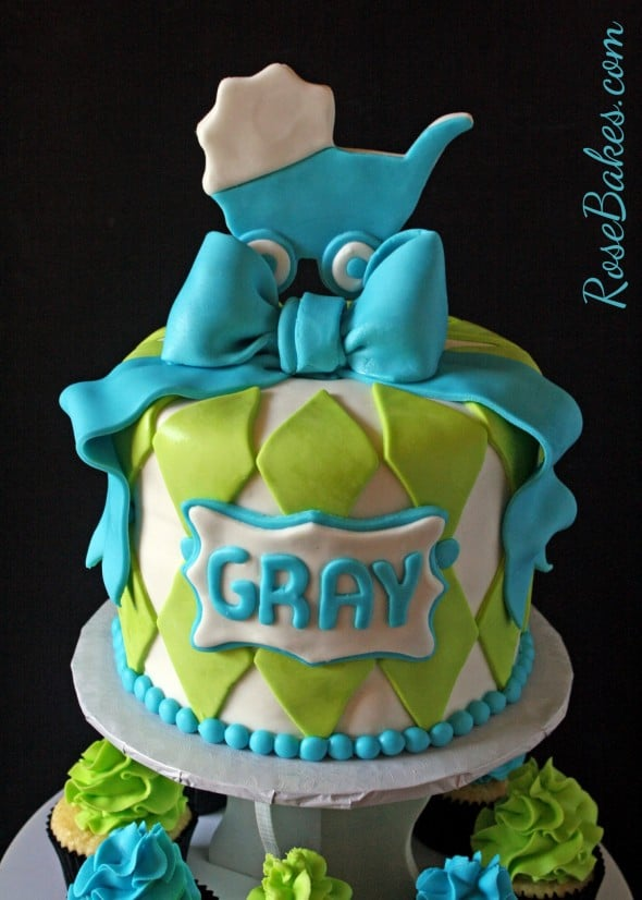Baby Boy Carriage Cake with Cupcake Tower