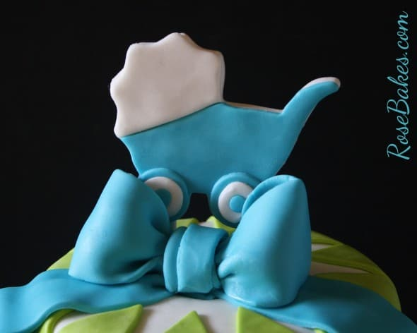 Baby Boy Carriage and Bow Cake Topper