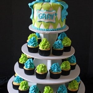 Baby Boy Shower Cake and Cupcake Tower