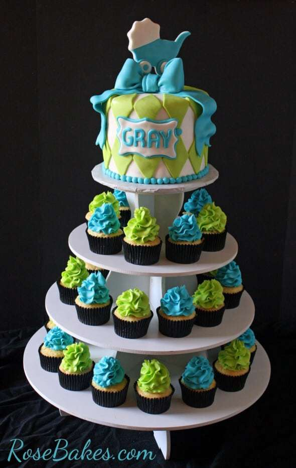 turquoise lime green baby shower cake and cupcake tower rose bakes