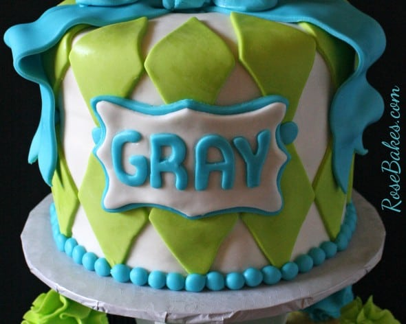 Baby Carriage Cake with Name Plaque
