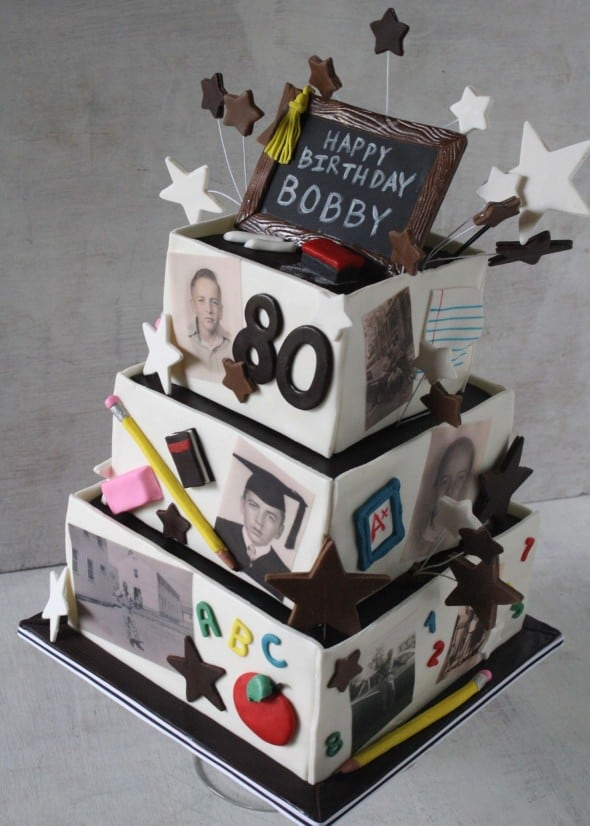 Retired Teachers 80th Birthday Cake on used eraser
