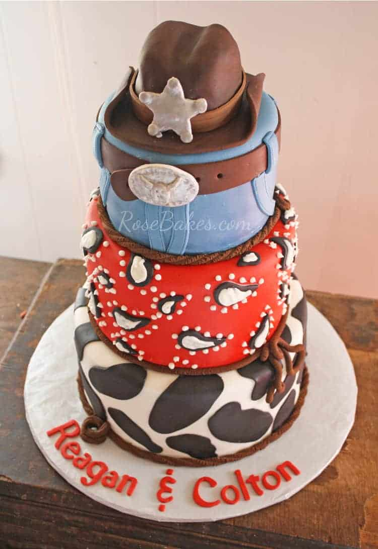 cowboy and indian wedding cake topper cowboy cake with cow print bandanna amp cowboy 13023