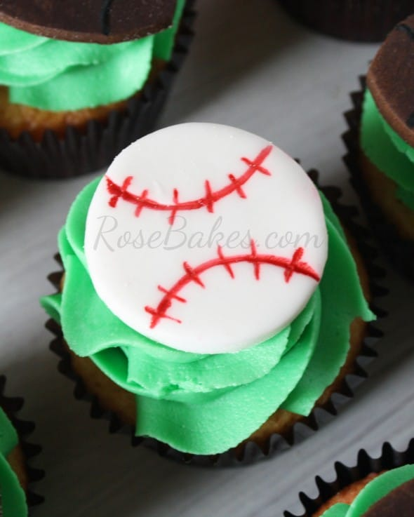Easy Baseball Cupcake Topper