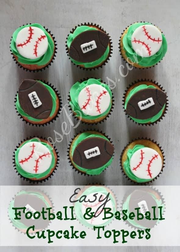 Football & Baseball Cupcake Toppers WM