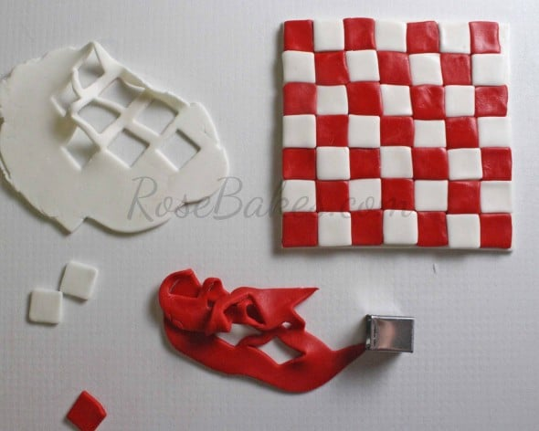 How to Make Fondant Checkered Blanket 09