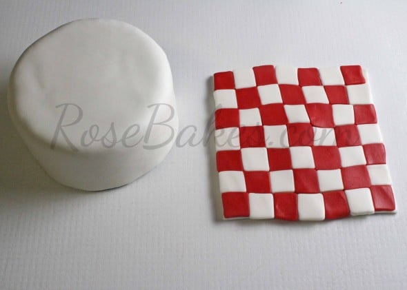 How to Make Fondant Checkered Blanket 11