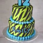 Lime Green & Turqoise Zebra Stripes Cake 2