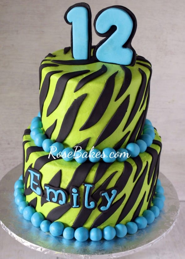 Lime Green & Turqoise Zebra Stripes Cake