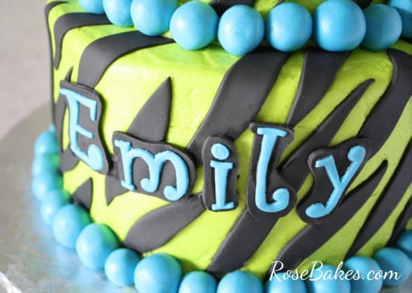Lime Green and Turquoise Name on Zebra Cake