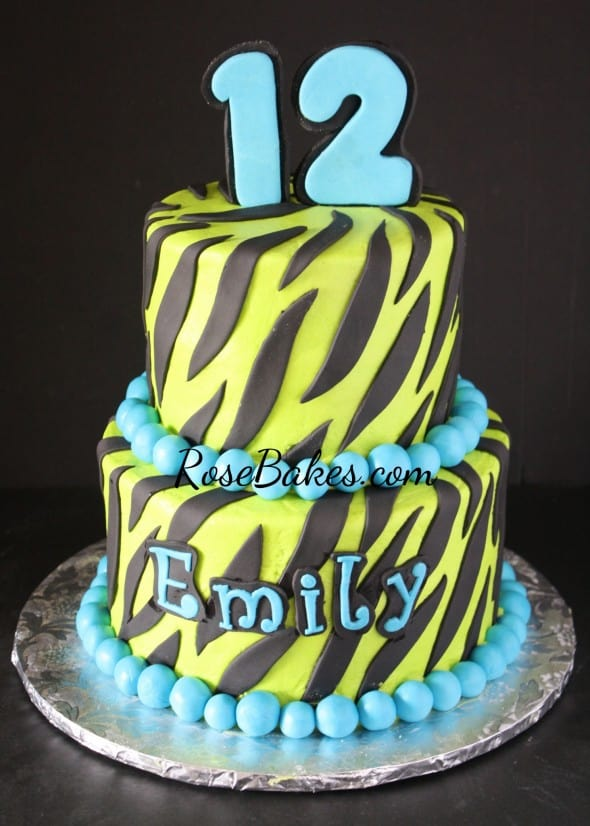 Lime Green and Turquoise Zebra Cake on Black