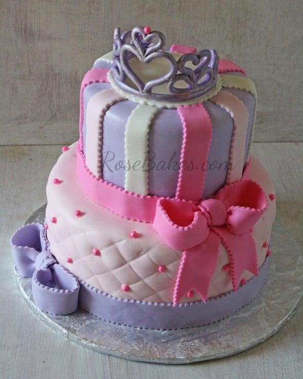 Tiara and Bows Princess Cake - Rose Bakes